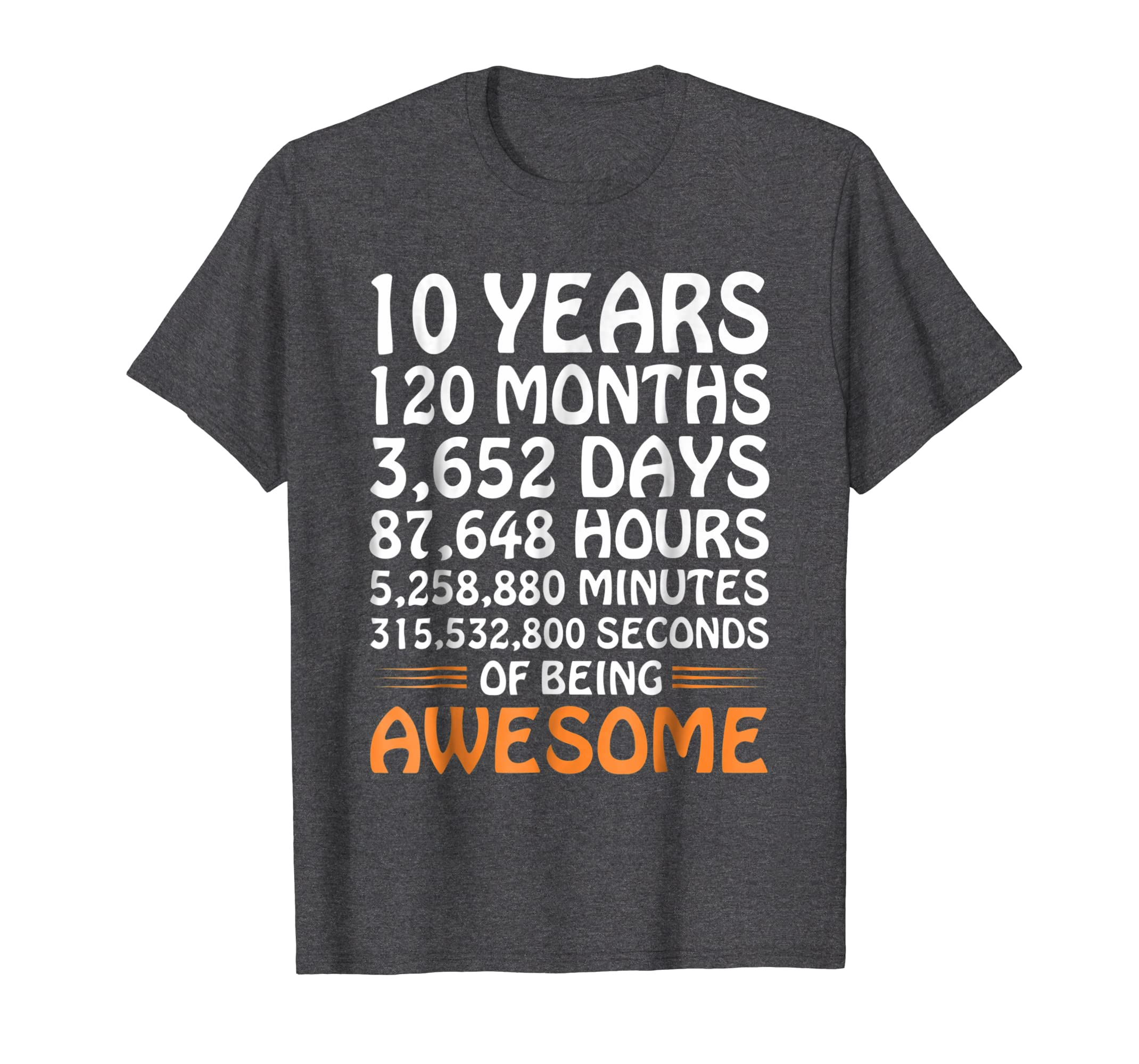 10th Birthday Gift T Shirt 10 Years Old Being Awesome Tee-Awarplus