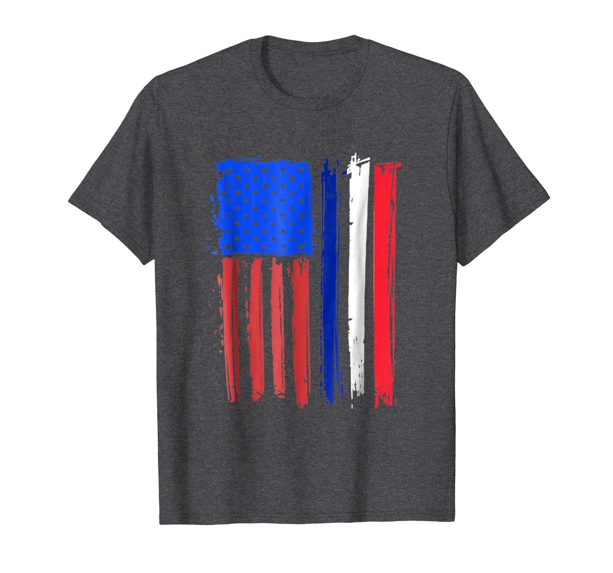 Half French American Flag Classic Patriot France T shirt-Teesml