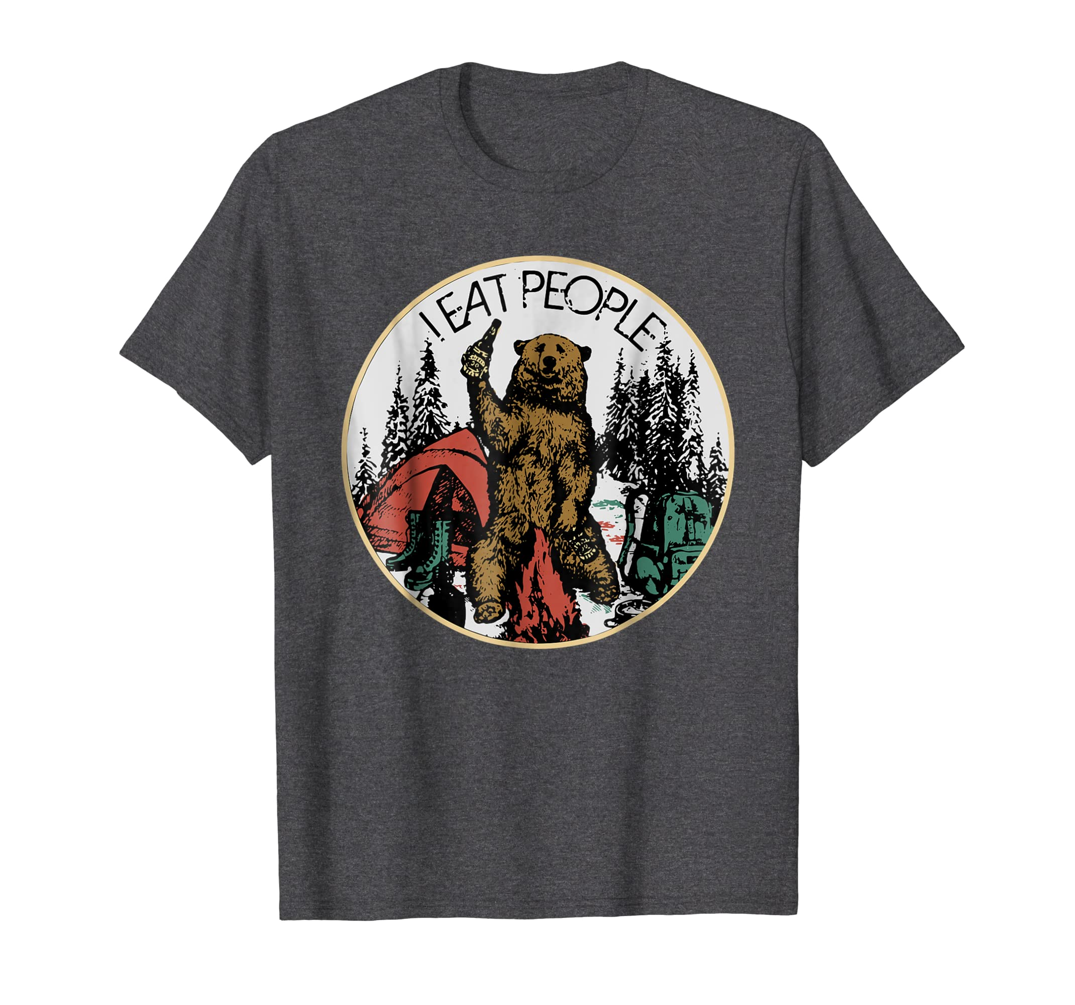Camping Hiking I Hate People I Eat People Bear T shirt-ln