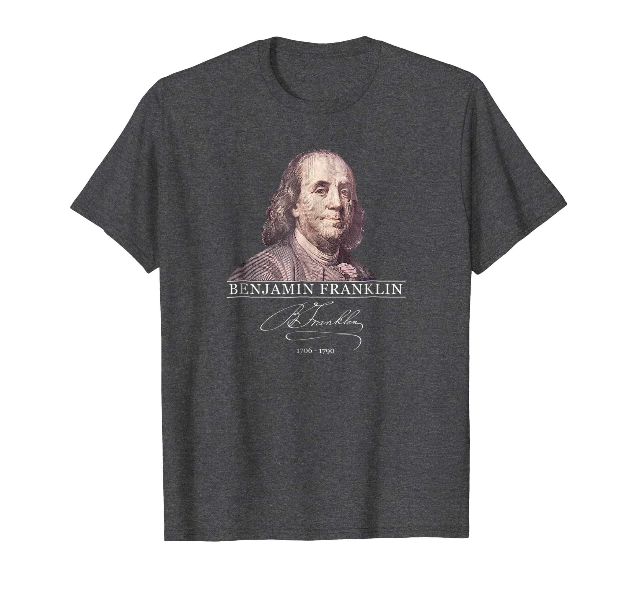 Benjamin Franklin portrait on Shirt from U.S. money currency-ln