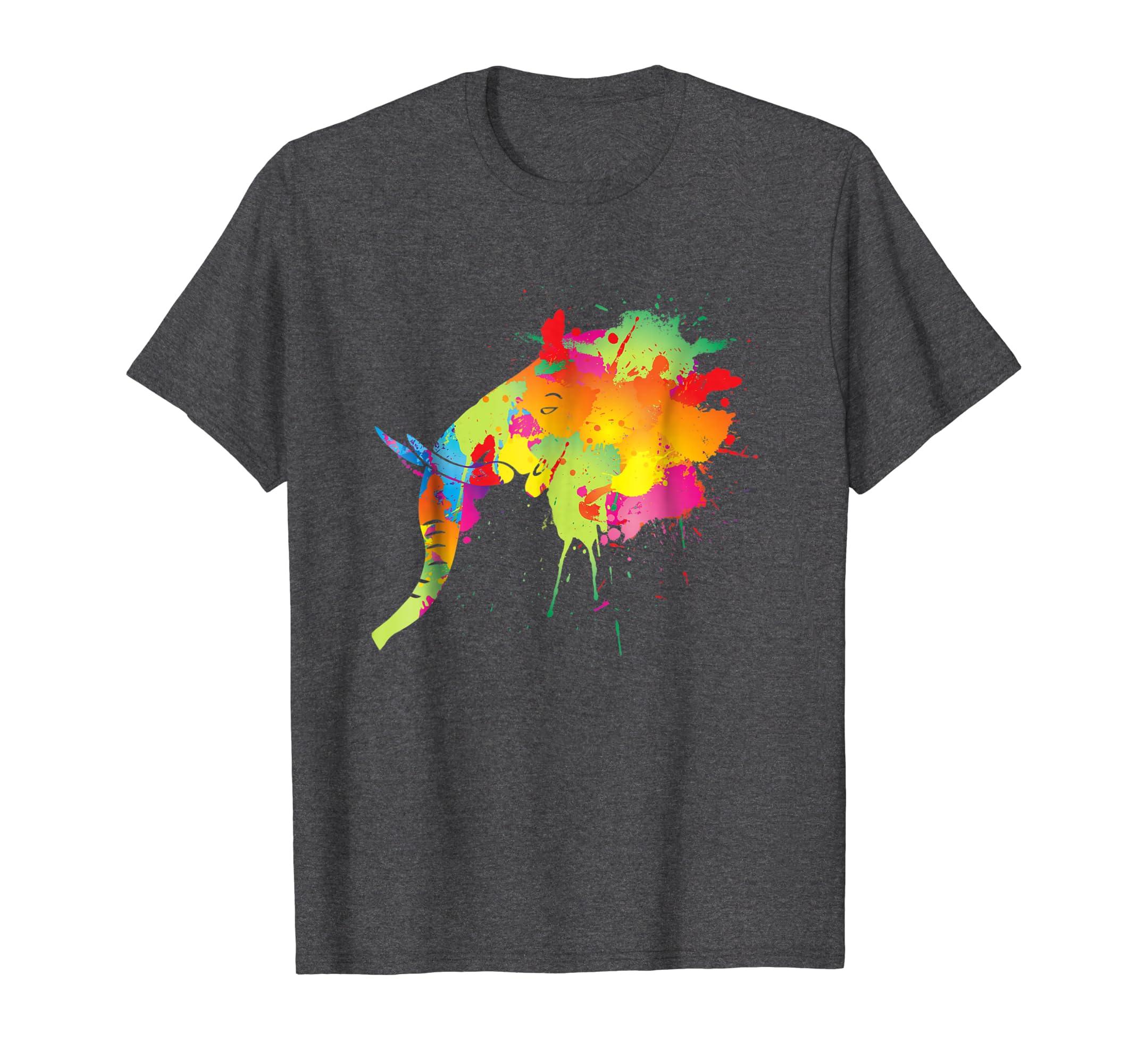 Elephant Gift Shirt Art Style Colorful Elephants Lover Tee