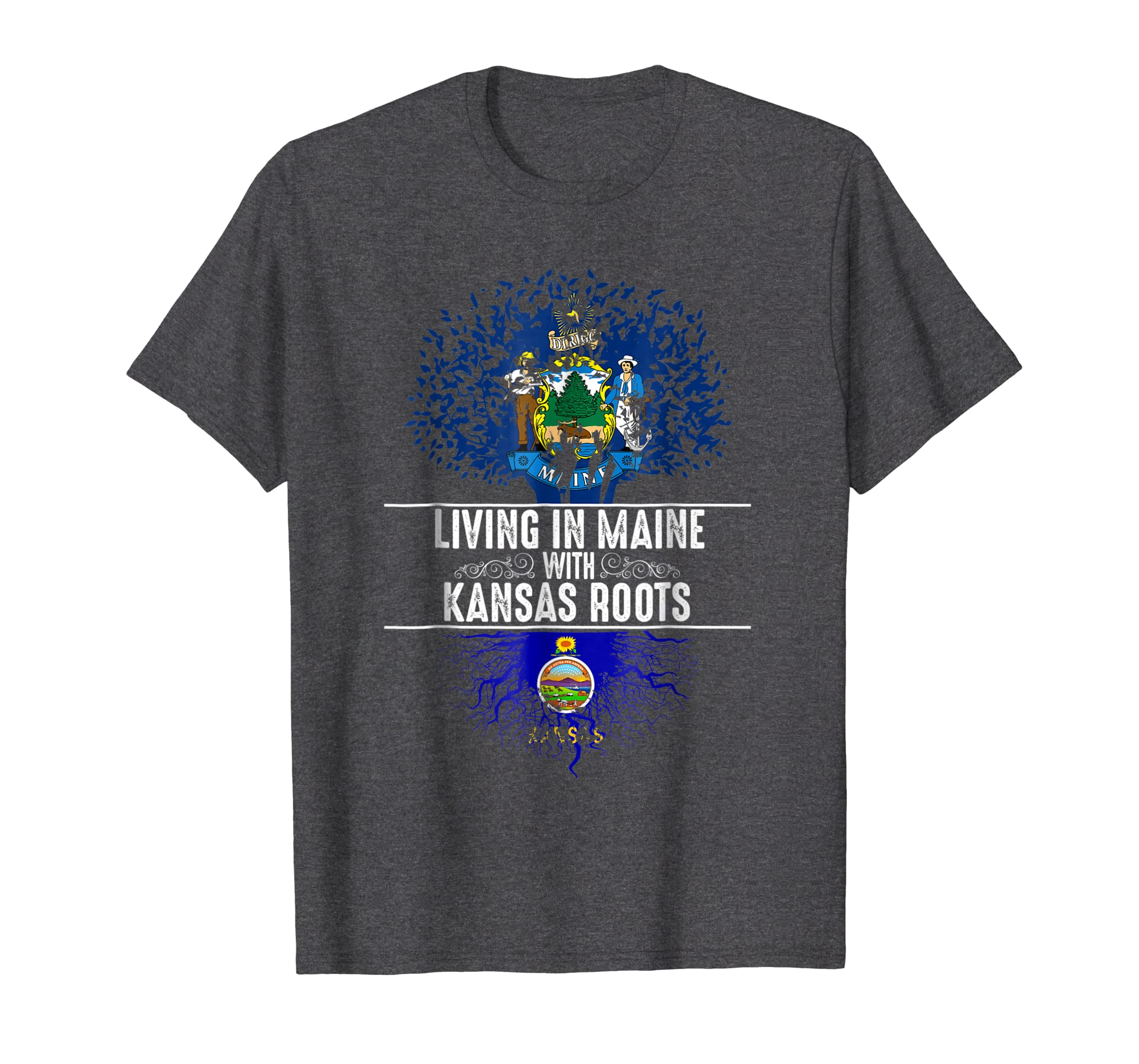 Maine Home Kansas Roots State Tree Flag Shirt Love Gift-SFL