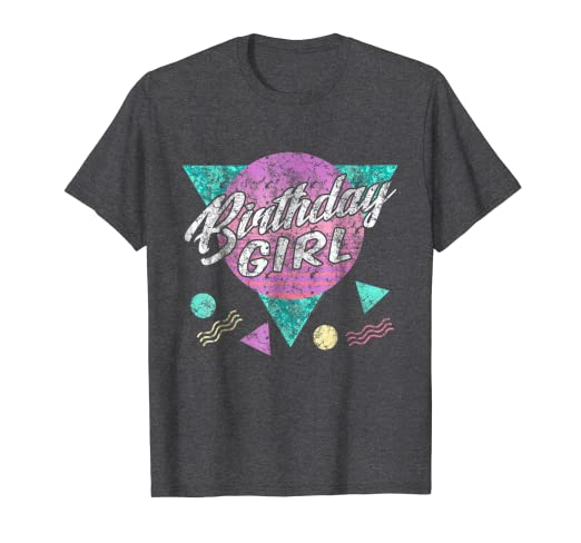 9aab03c2 Image Unavailable. Image not available for. Color: Vintage Retro 80s  Birthday Girl Shirt 1980s Womens ...