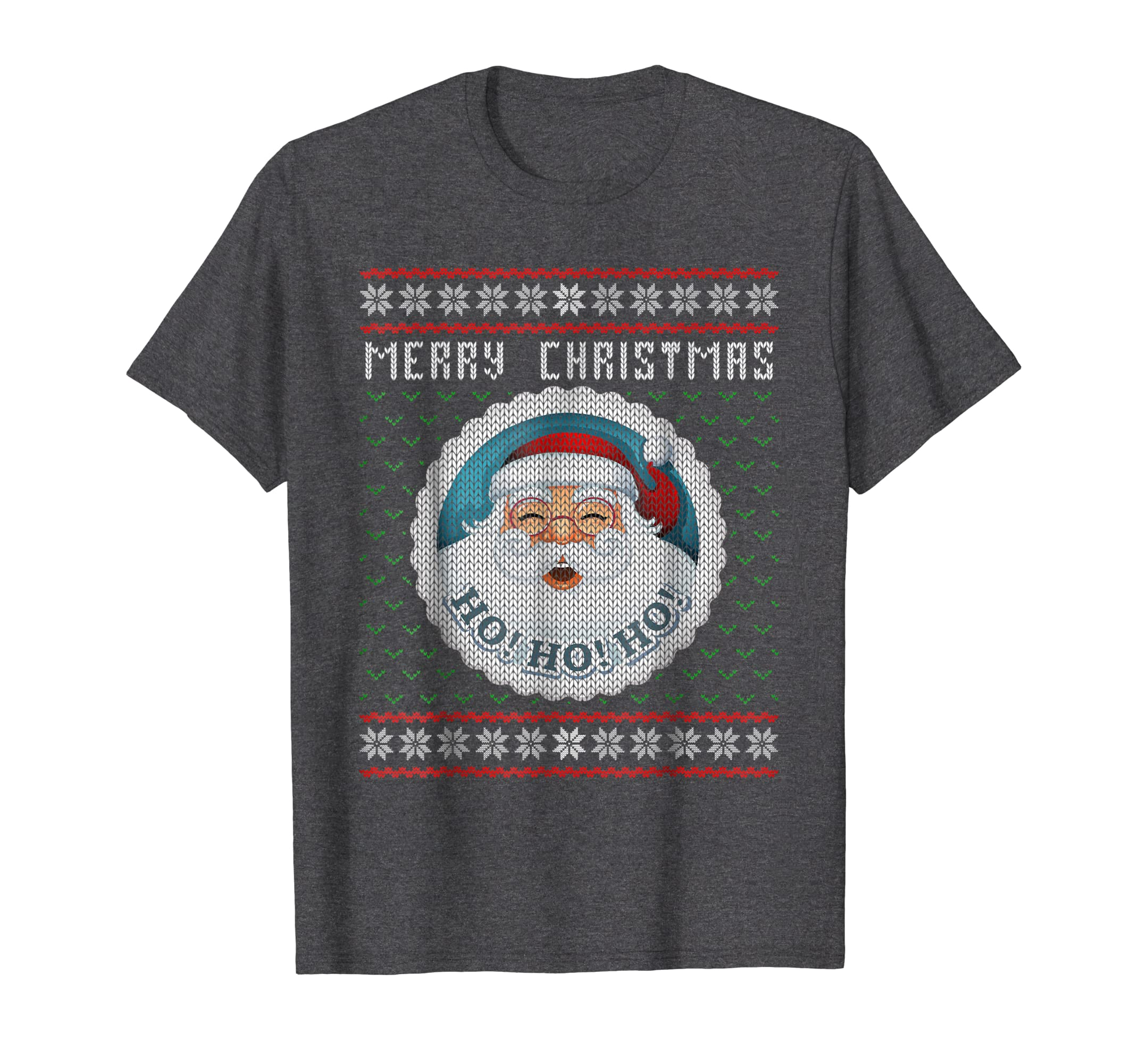 Merry Christmas Santa Ugly Christmas Sweater Style T Shirt-Teechatpro