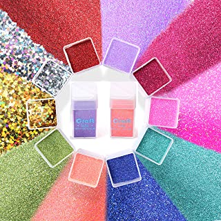 Fine Glitter and Chunky Glitter for Resin, Crafts, Tumblers – Set of 10 Professional Polyester Holographic Glitter (15oz Total) – 8 Ultra Fine Glitter, 2 Chunky Glitter, 1 Glow in The Dark Powder!