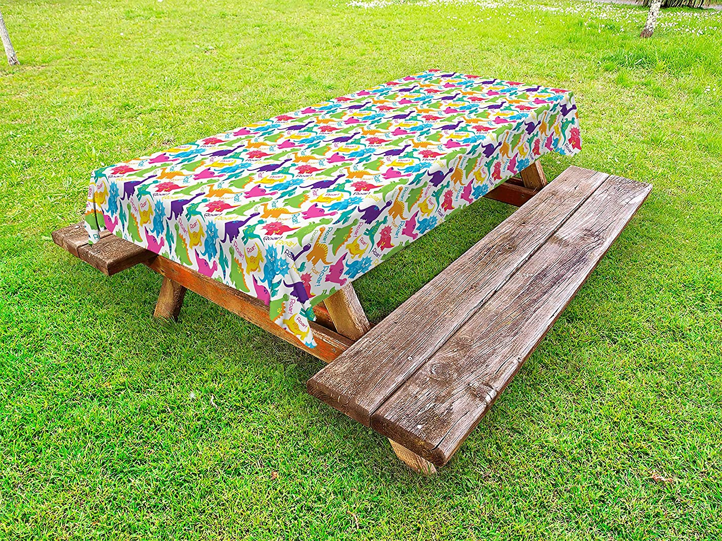 Ambesonne Jurassic Outdoor Tablecloth, Dinosaur Archaeological Historical Monster Wild Creature Cartoon Children Print, Decorative Washable Picnic Table Cloth, 58 X 84 inches, Multicolor ie11676014