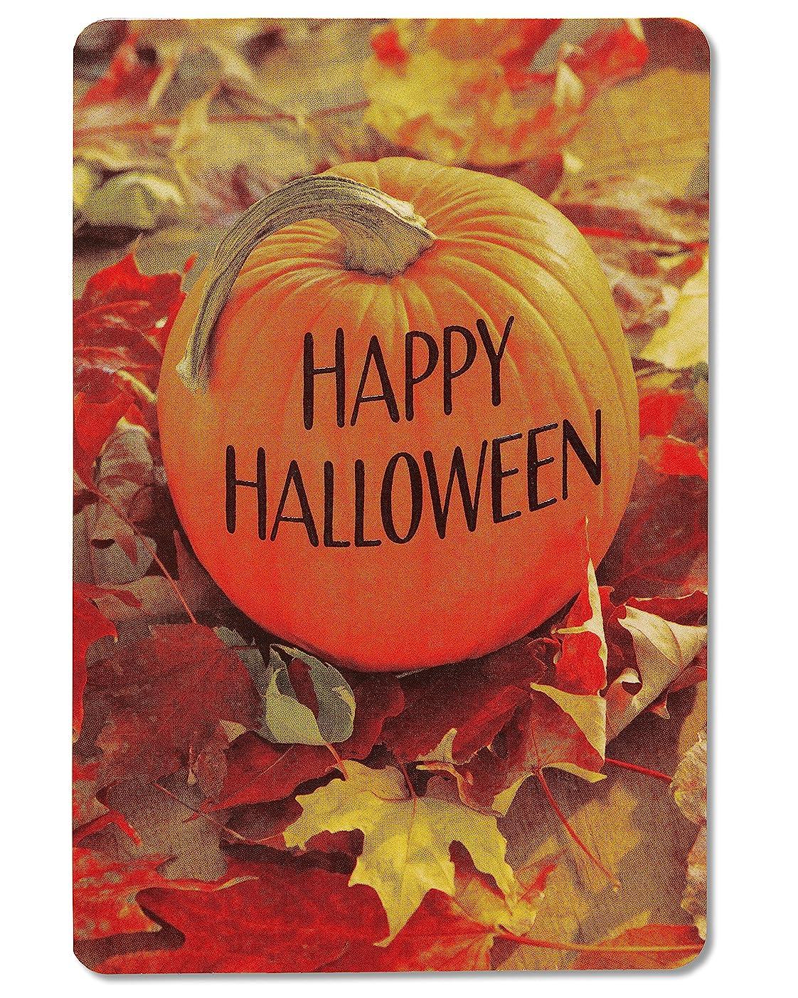 American Greetings Pumpkin Halloween Card with Embossing, 6-Count