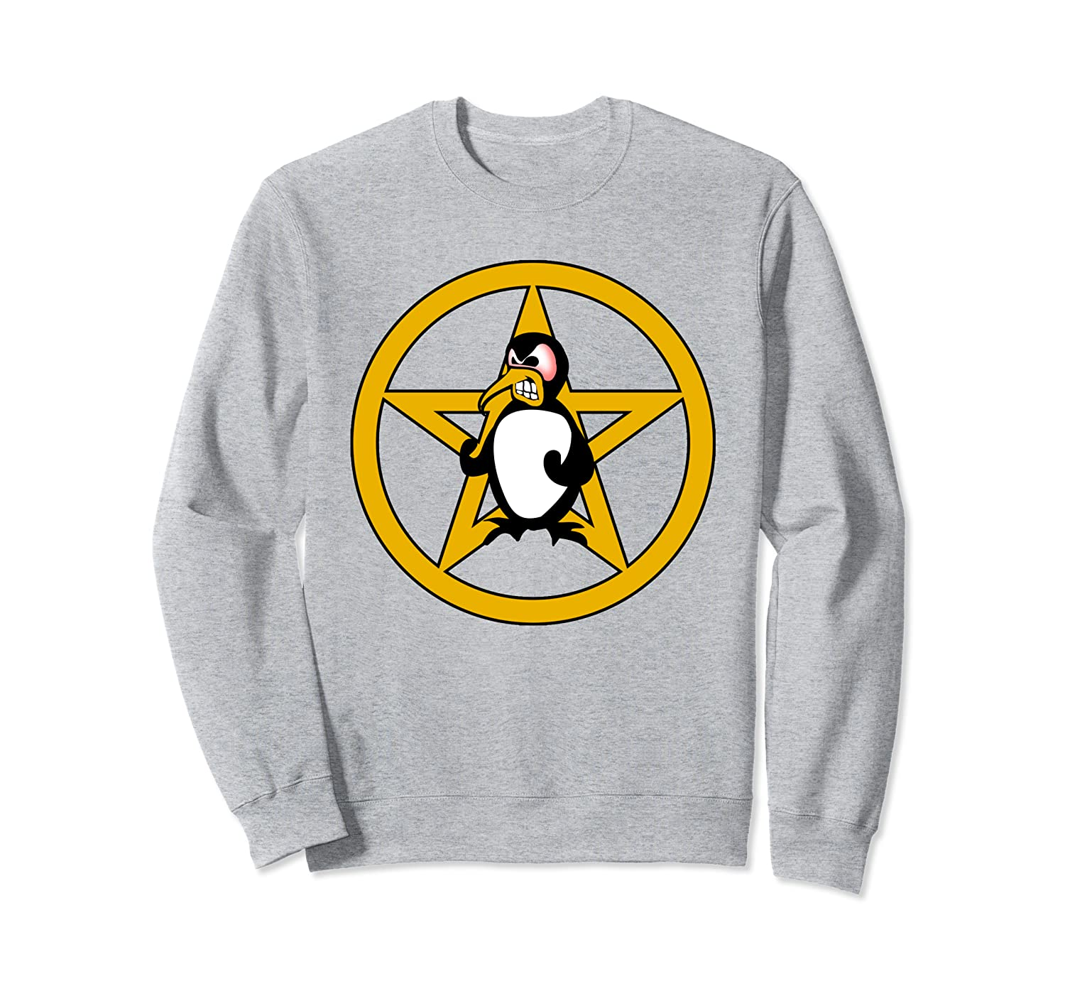Black Goth Angry Penguin & Pentagram Sweatshirt