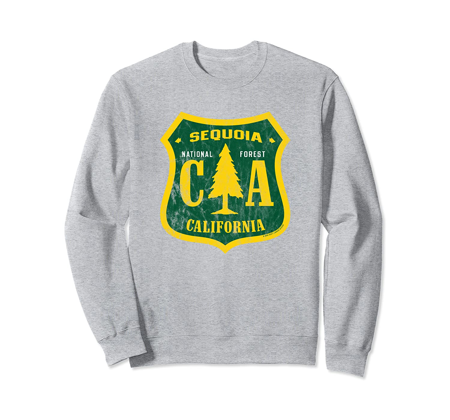 Sequoia National Forest California Shield Retro Vintage Look Sweatshirt