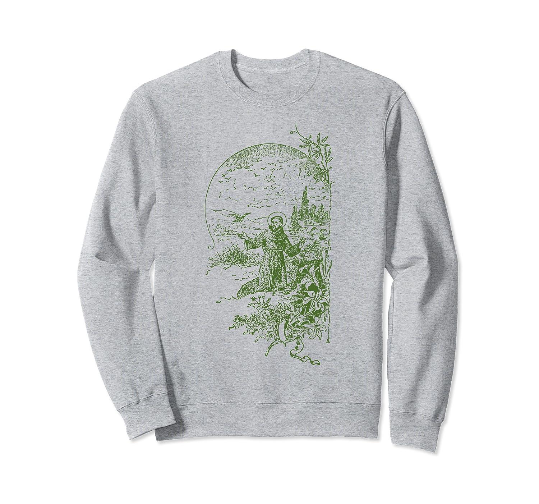 St Francis of Assisi Vintage Saints Catholic Ecology Animals Sweatshirt