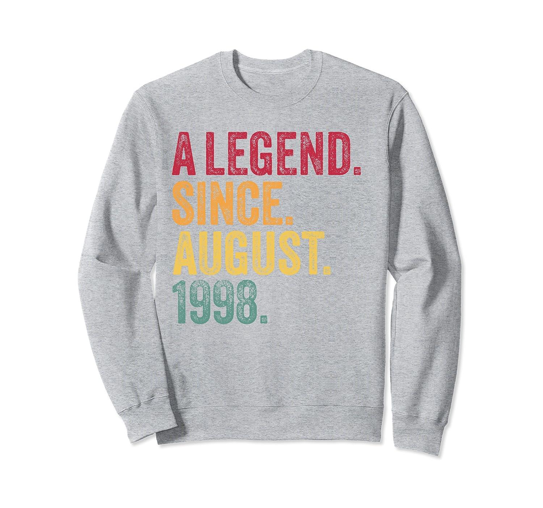 21st Birthday Gift Vintage Retro 21 August 1998 Mens Womens Sweatshirt