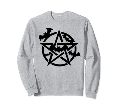Goth Black Bats & Pentagram Sweatshirt