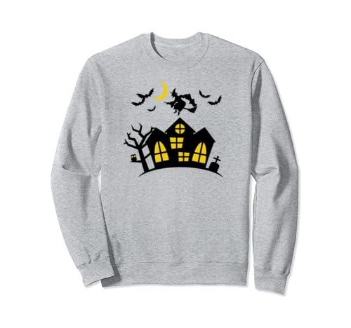 Halloween Classic Witch Haunted House Bats Moon Women Girls Sweatshirt