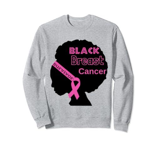 Black Afro Breast Cancer Awareness Pink Survivor Ribbon  Sweatshirt
