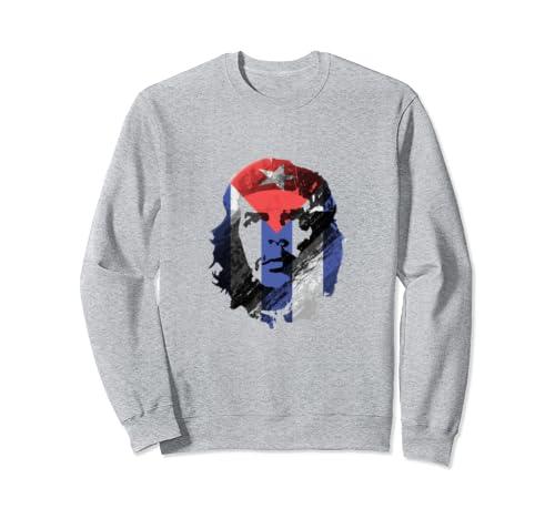 Che Guevara Art Gift Distressed Cuban Flag Sweatshirt