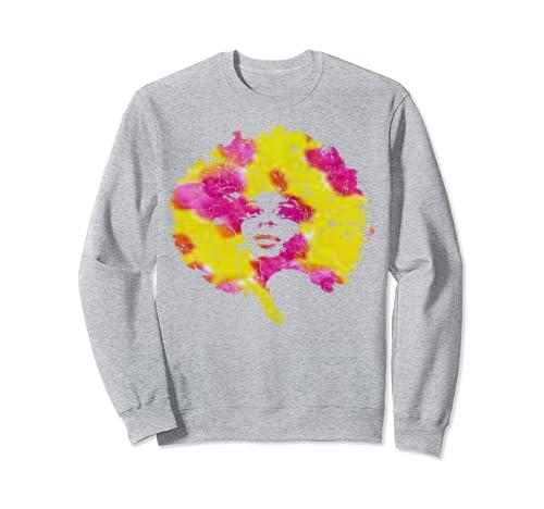 Afro Dashiki Colors Shirt Woman With Big Hair Sweatshirt
