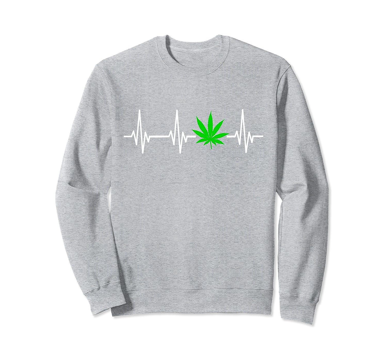 Herzschlag Hanf T-Shirt Cannabis Kiffer Hanfblatt Geschenk Sweatshirt