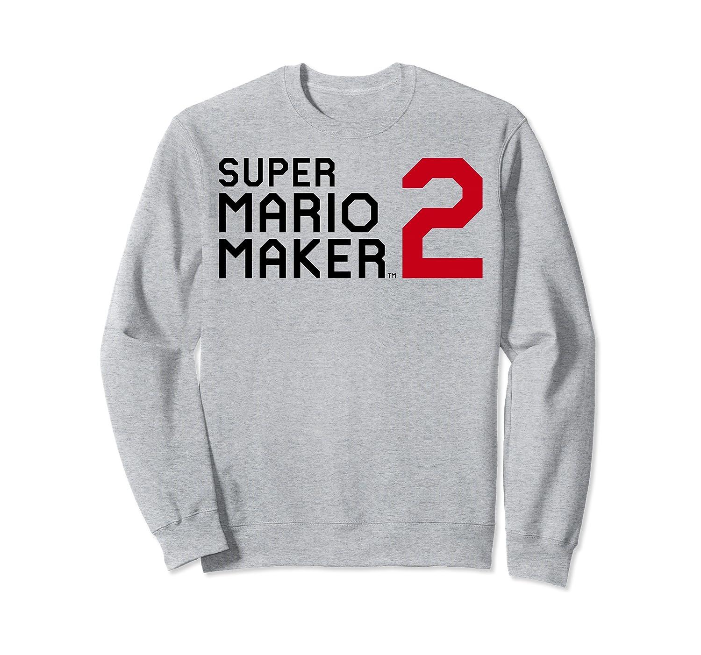 Amazon Com Super Mario Maker 2 Block Text Game Logo Sweatshirt Clothing