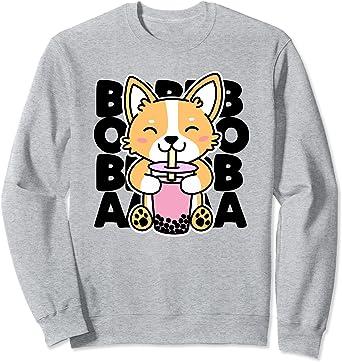 Cute Kawaii Corgi Dog Drinking Boba Milk Tea UNISEX Sweatshirt