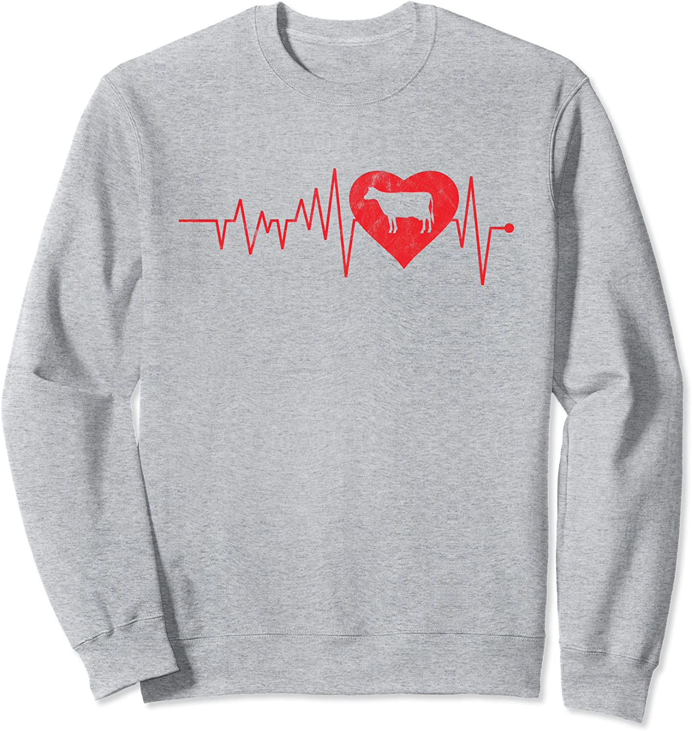 Cow Heartbeat Vintage Dairy Challenge the Direct sale of manufacturer lowest price of Japan ☆ Farm Gift Lovers Cattle Sweatshirt