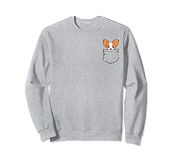 96a070d14790 Amazon.com: Papillon dog in pocket Sweatshirt | Papillon funny gift ...