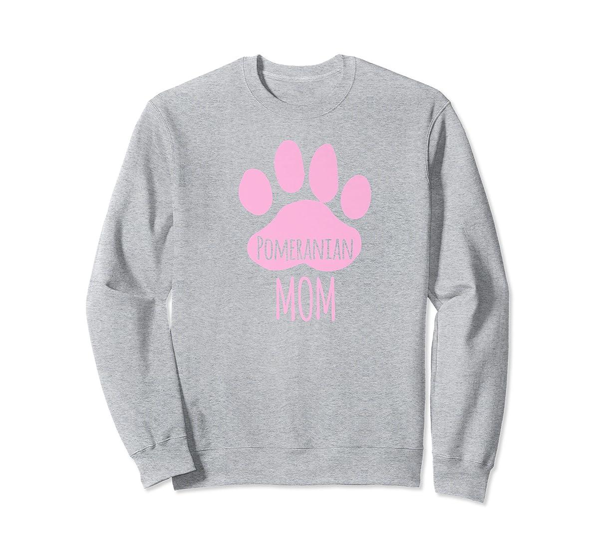 Cute Pomeranian Mom T Shirt for Pom Owner Dog Paw Pink-Sweatshirt-Sport Grey
