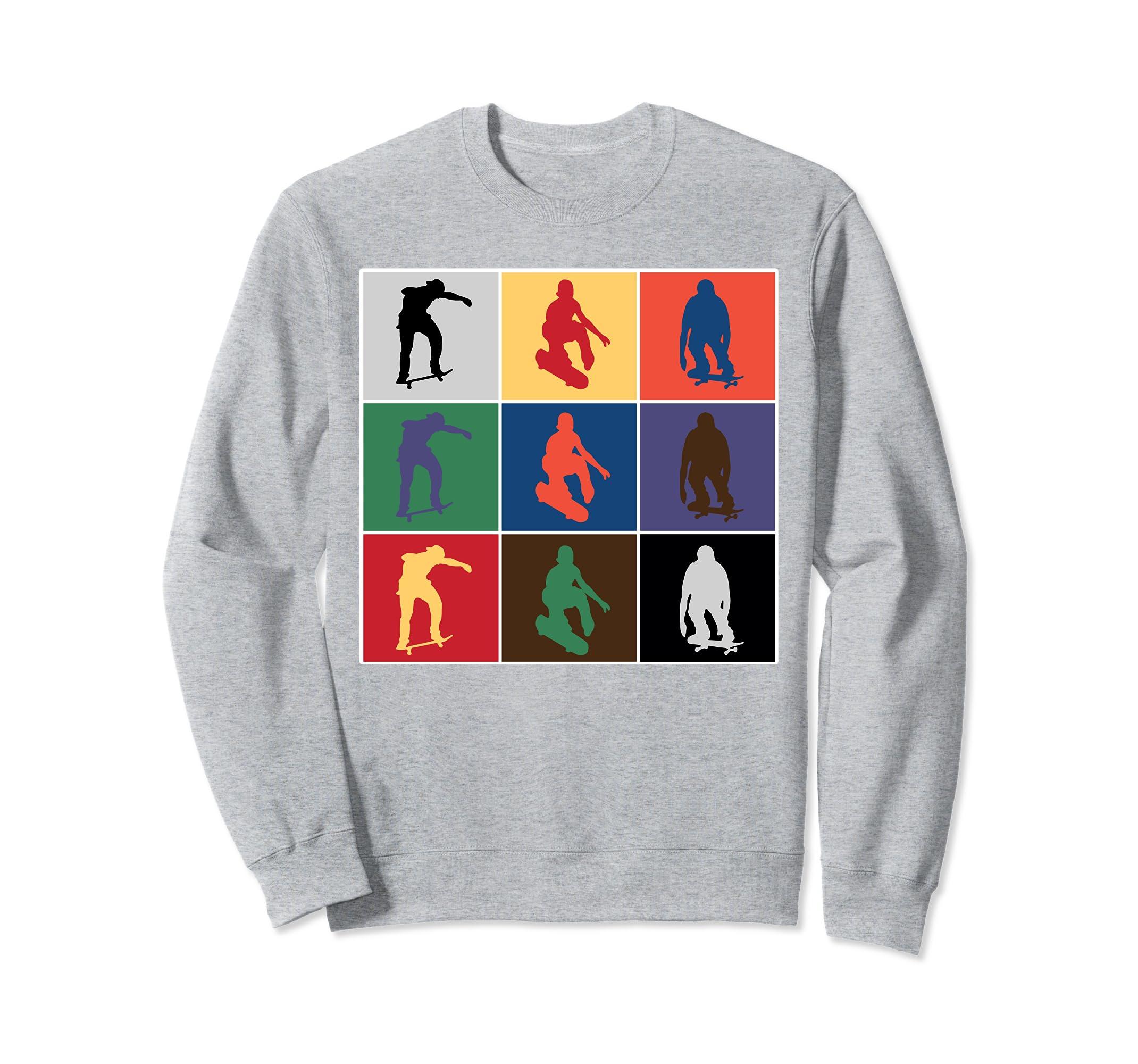 Classic Pop Art Colorful Skateboarder crewneck sweatshirt-azvn