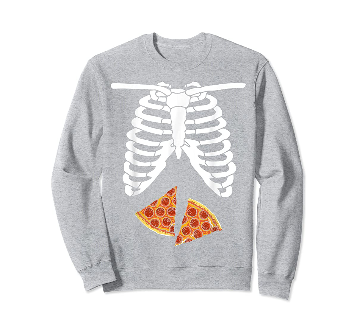 Halloween Skeleton Xray Pizza Slices Costume Rib Cage Easy T-Shirt-Sweatshirt-Sport Grey