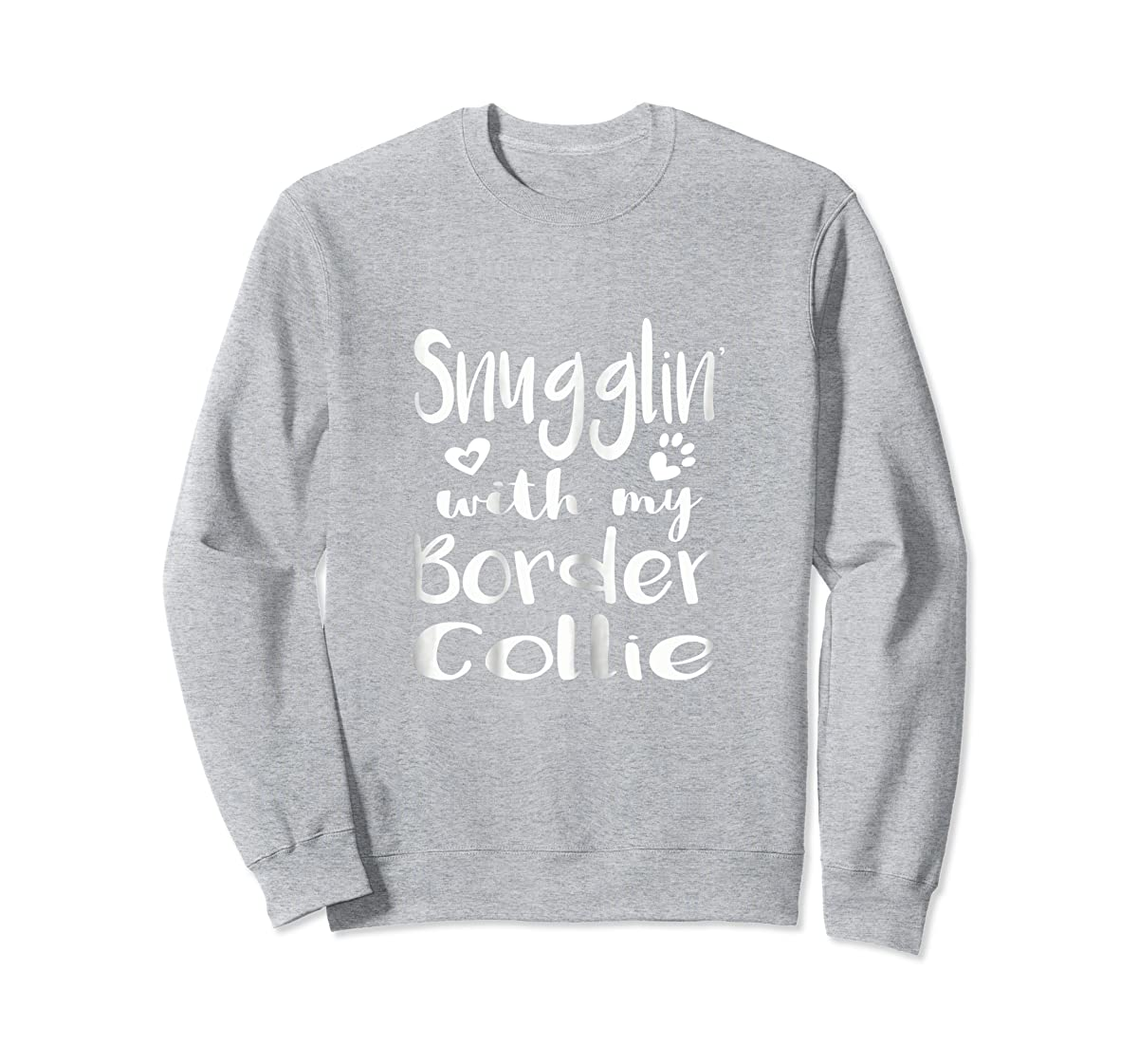 Snuggling with my Border Collie Shirt - Dog Mom pajamas-Sweatshirt-Sport Grey