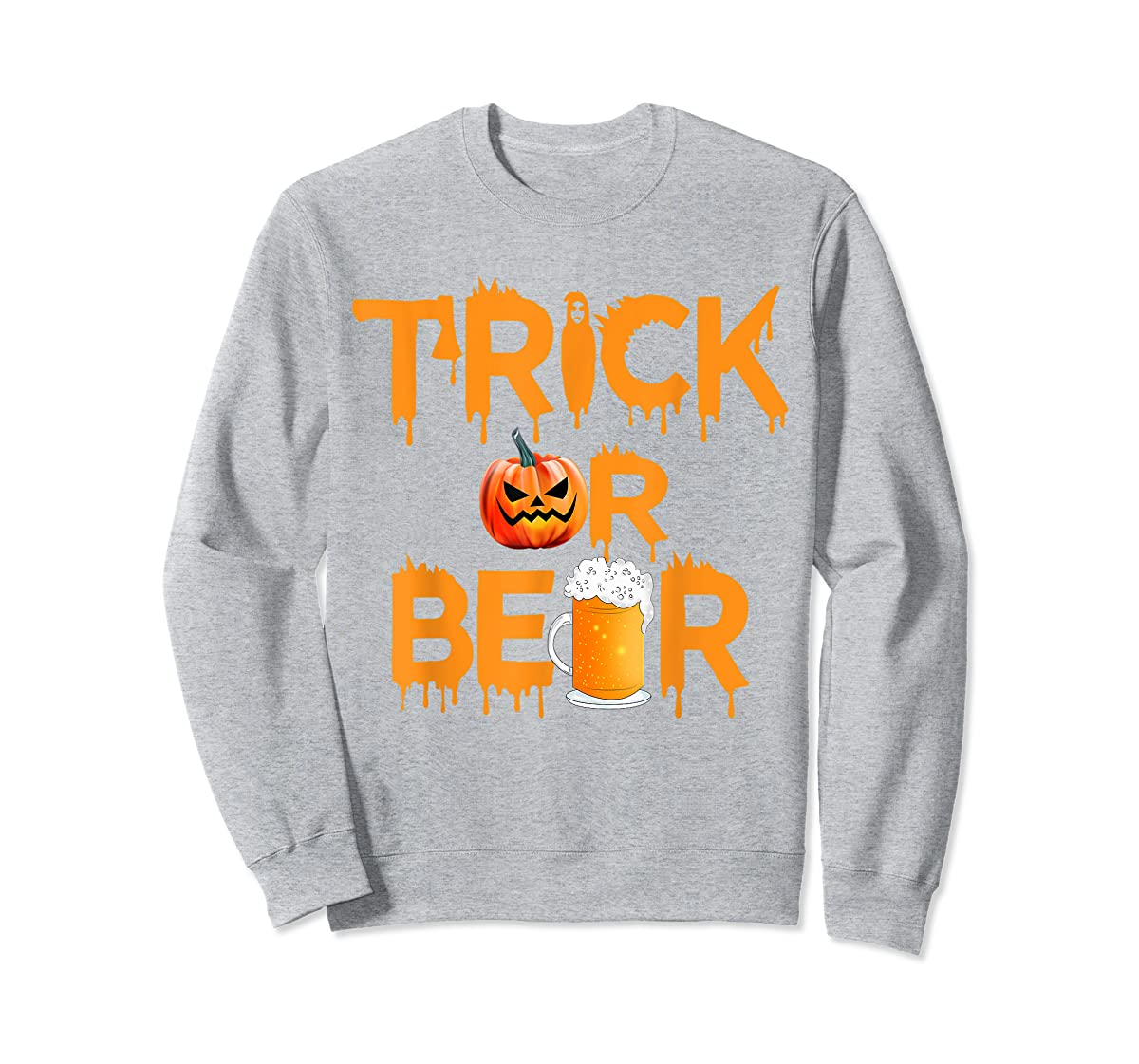 Halloween Costume Trick or Beer Drinking T Shirt Pumpkin Men T-Shirt-Sweatshirt-Sport Grey
