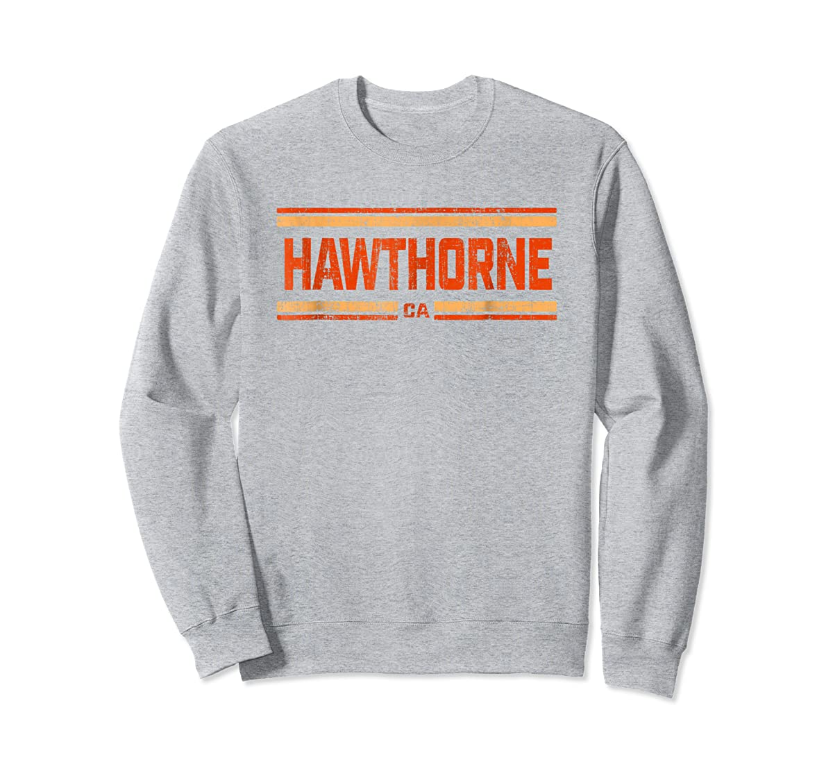 Retro Vintage Hawthorne CA Distressed T-Shirt-Sweatshirt-Sport Grey