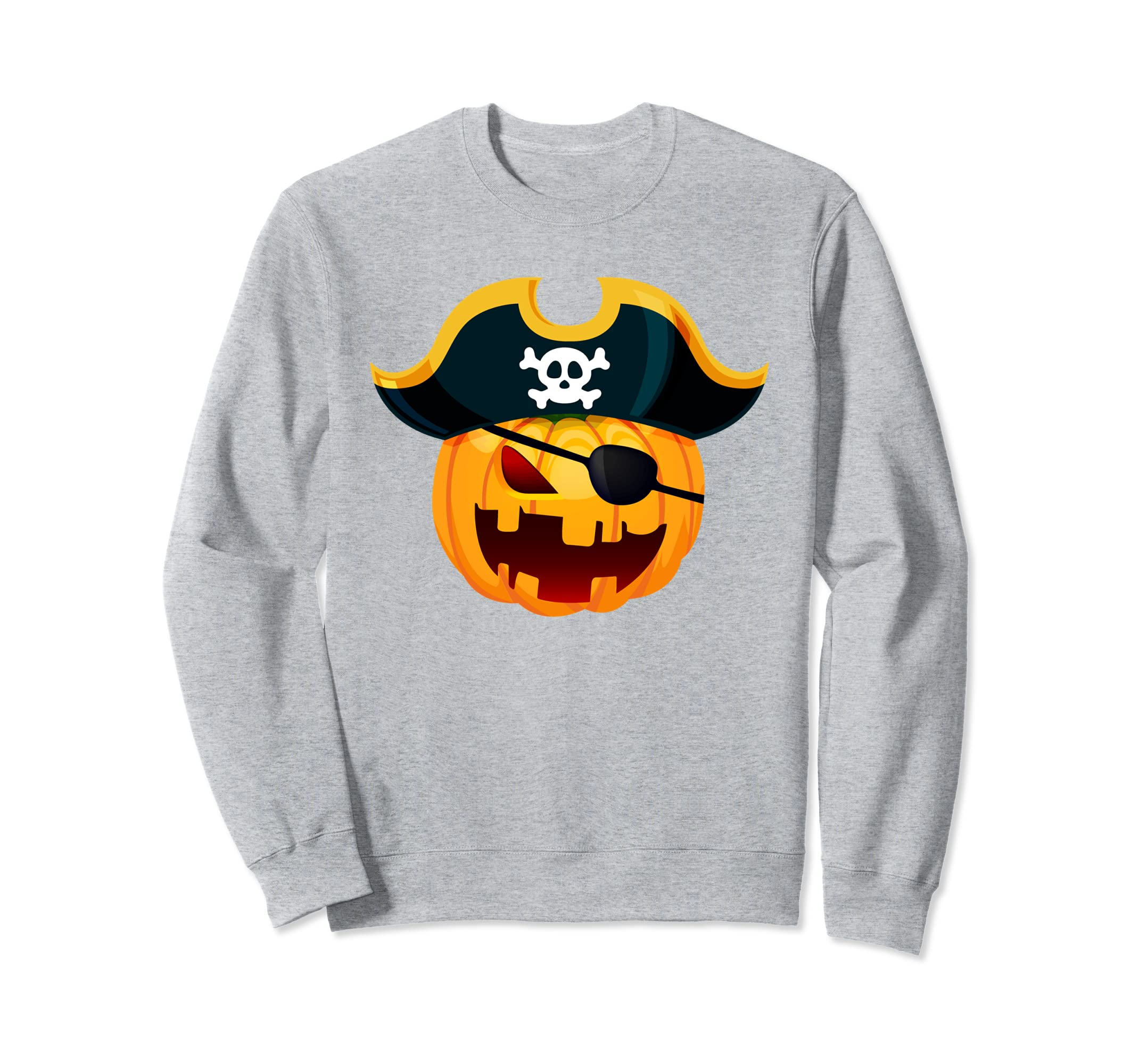 Awesome Graphic Funny Pirate Pumpkin Halloween Sweatshirt-Rose