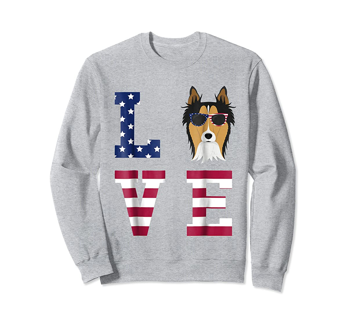 Collie Dog - 4th Of July T-Shirt-Sweatshirt-Sport Grey