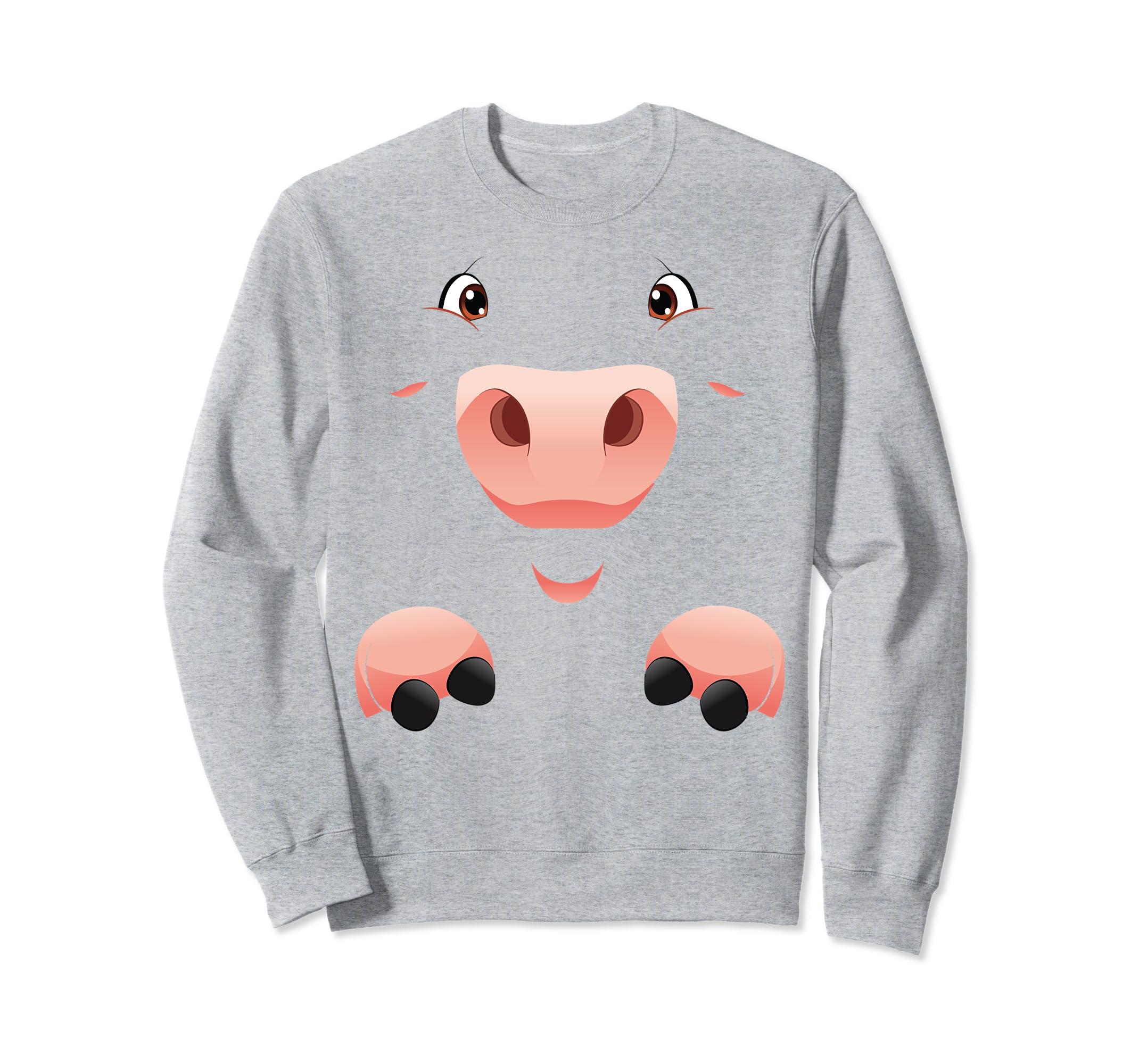 Funny Halloween Sweatshirt Fun Simple Cute Pig Costume-Rose