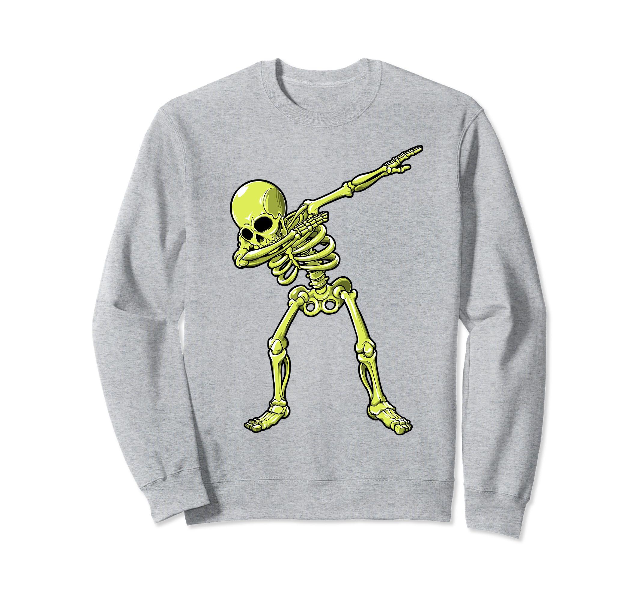 Dabbing Skeleton Sweatshirt Halloween Men Women Funny Green-Rose