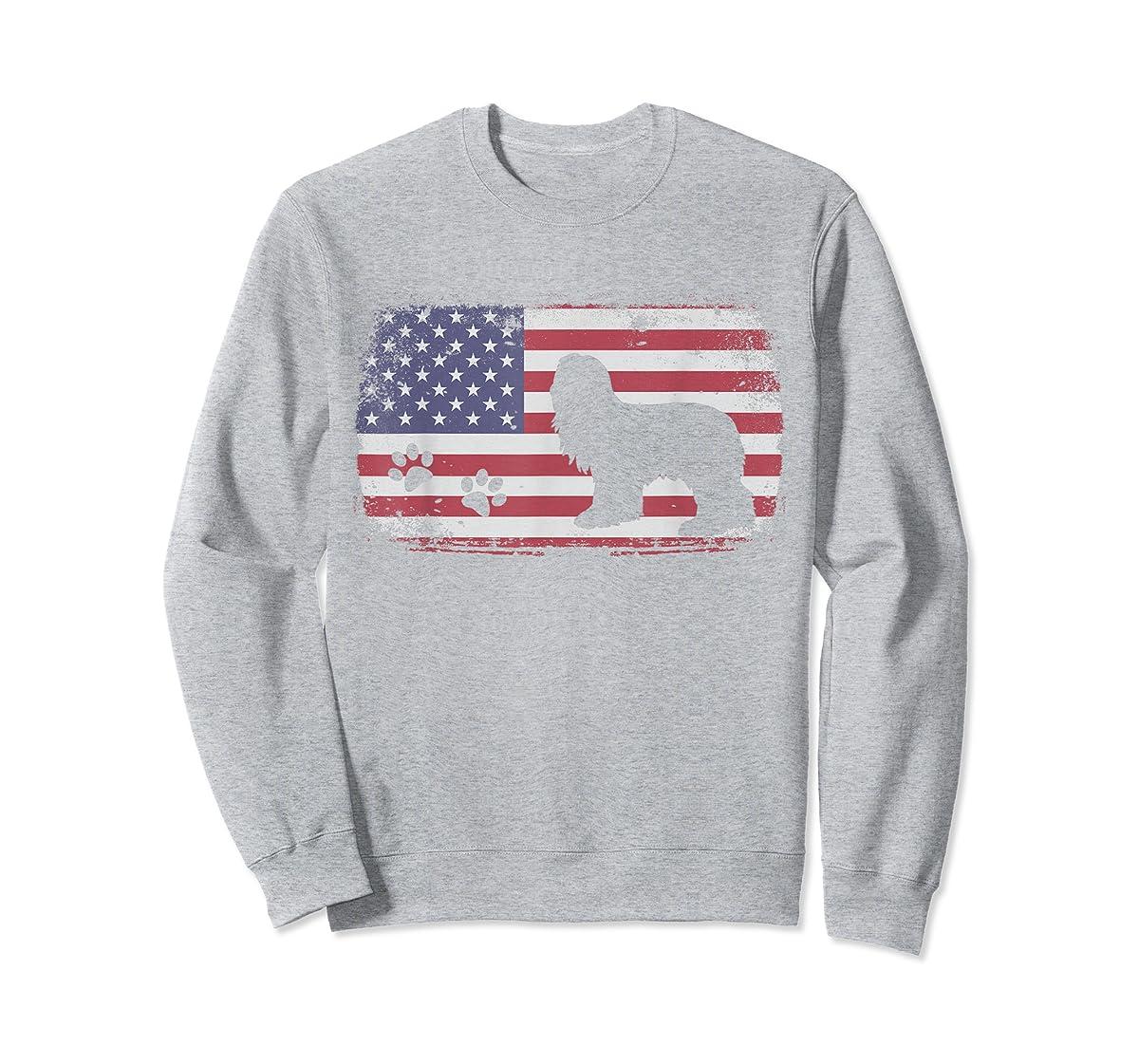 Vintage American Flag Bearded Collie Dog T-Shirt-Sweatshirt-Sport Grey