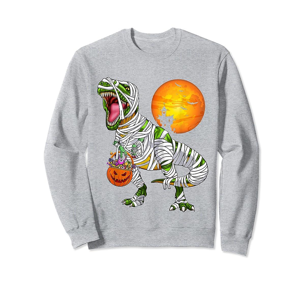 Halloween Gift For Boys Kids Dinosaur T rex Mummy Pumpkin T-Shirt-Sweatshirt-Sport Grey
