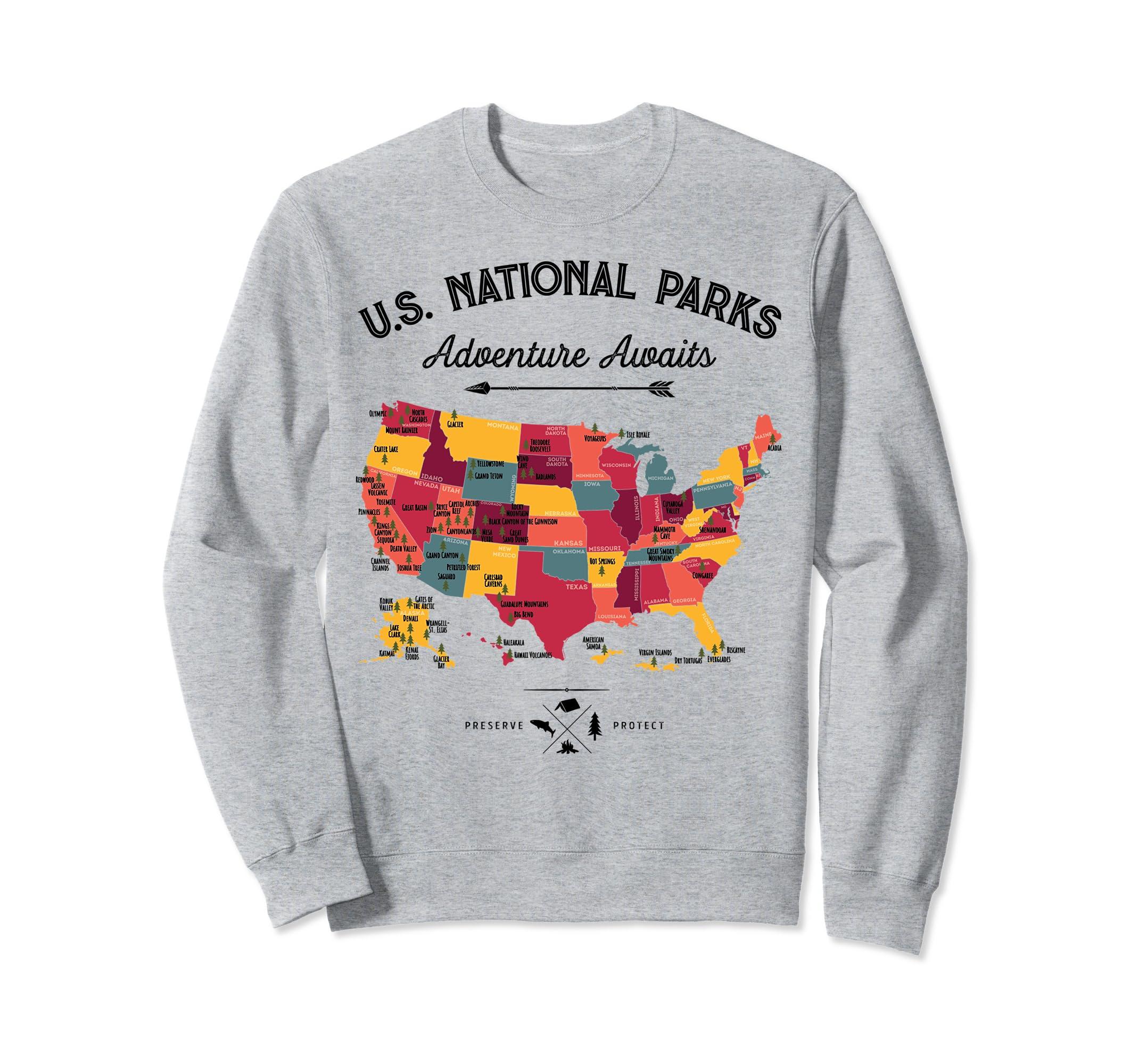 Amazon com: National Parks Map Sweatshirt 59 US Vintage
