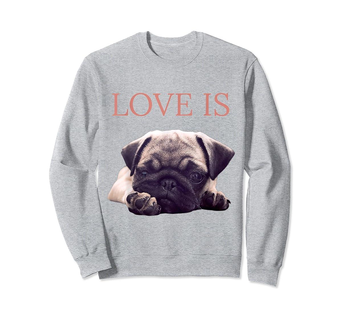 Mothers Day Pug Shirt Women Men Pug Mom Life Tee Love Is Dog-Sweatshirt-Sport Grey