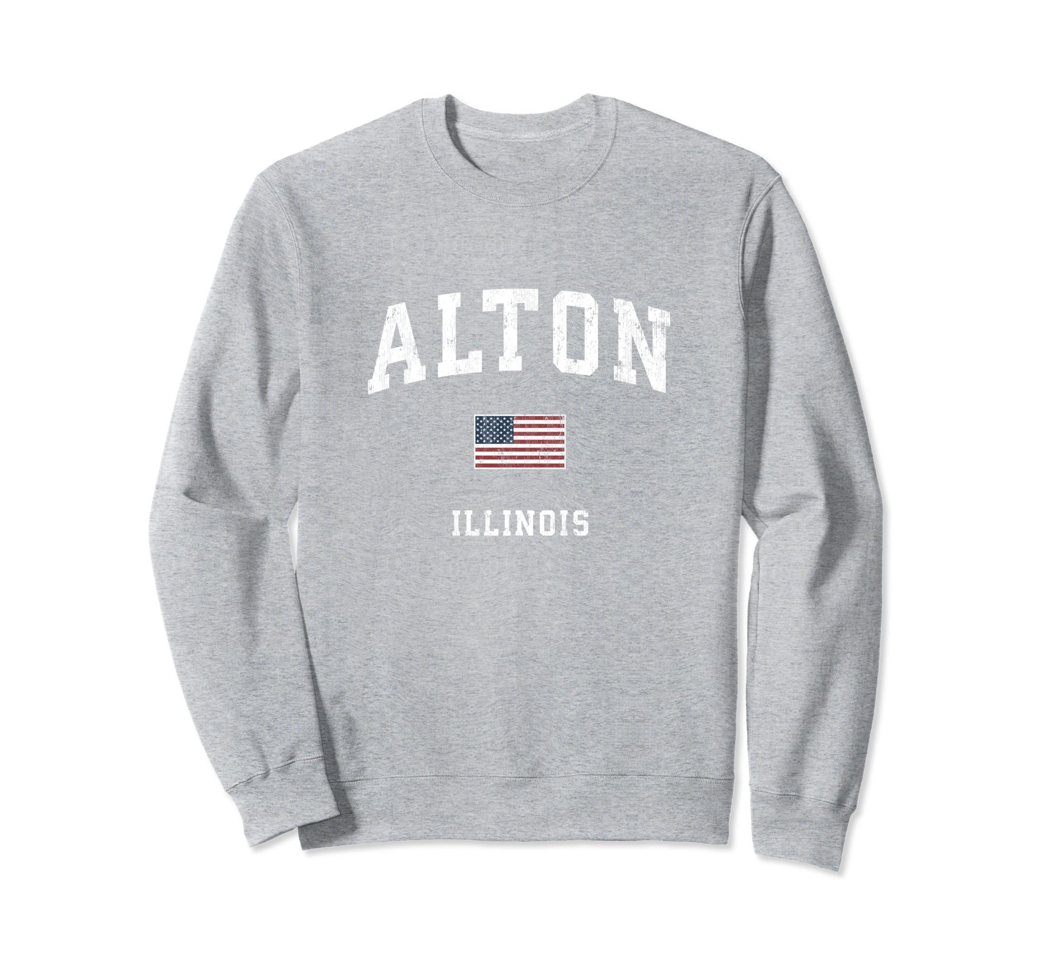 Alton Illinois IL Vintage American Flag Sports Design Sweatshirt-ANZ