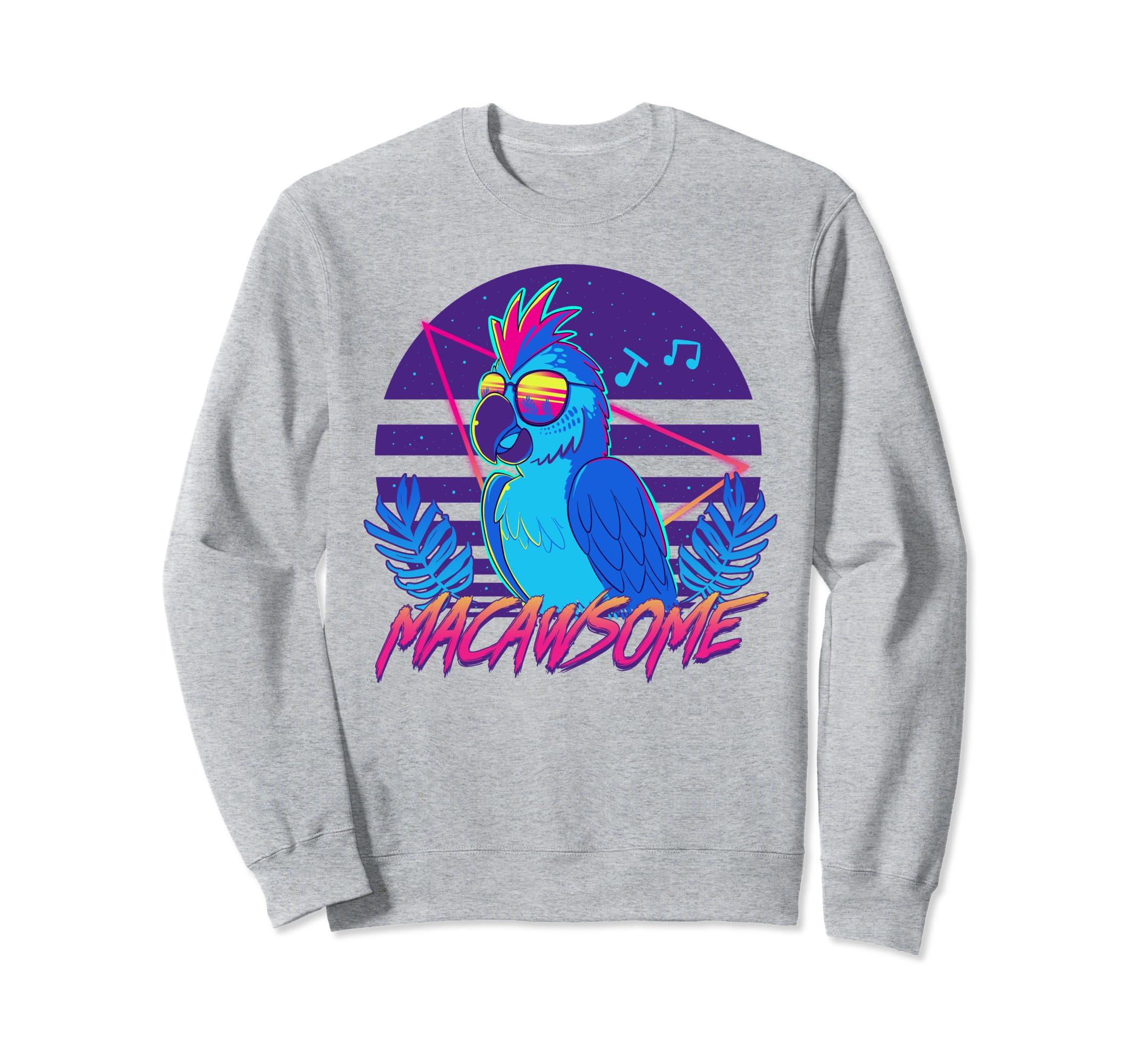 571f38ae934c Amazon.com  Macawsome - Macaw Parrot Retrowave 80s - Sweatshirt  Clothing