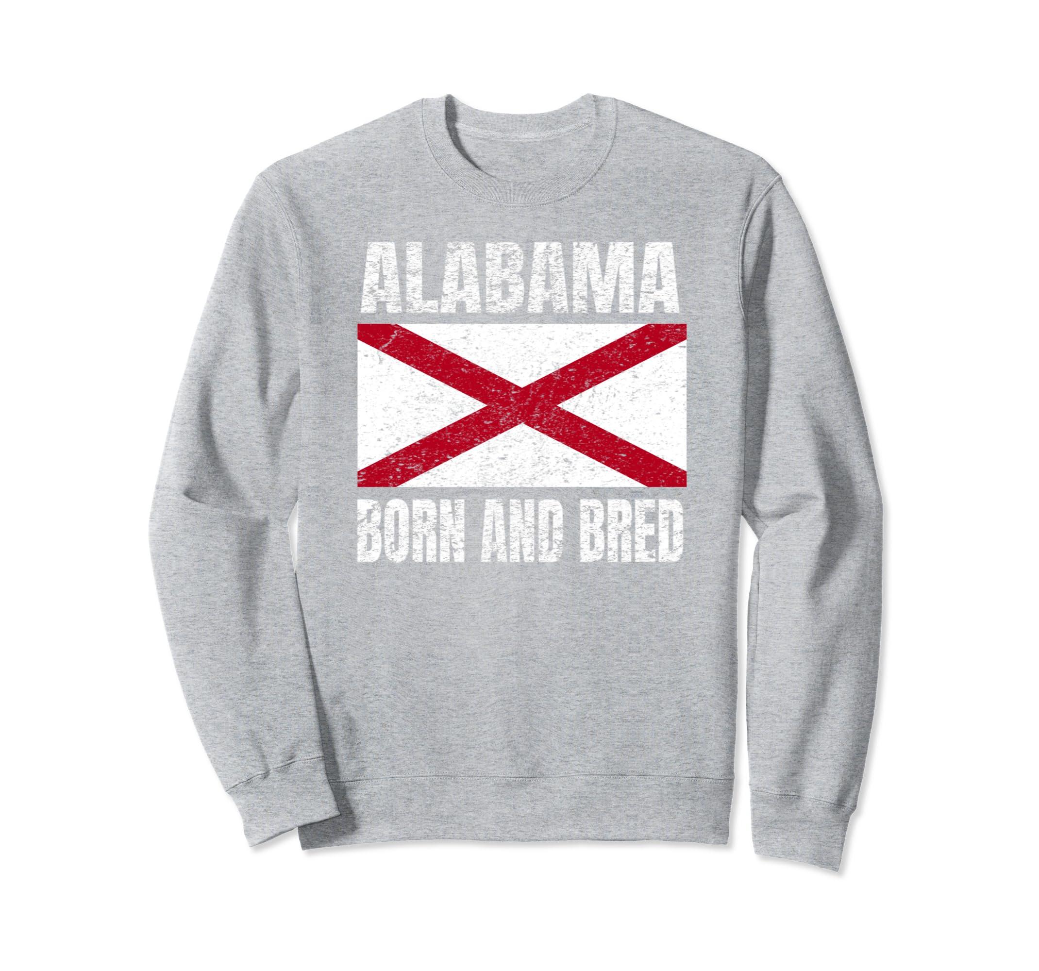4e81d170c888 Amazon.com  Alabama Born And Bred Sweatshirt Alabama State Flag  Clothing