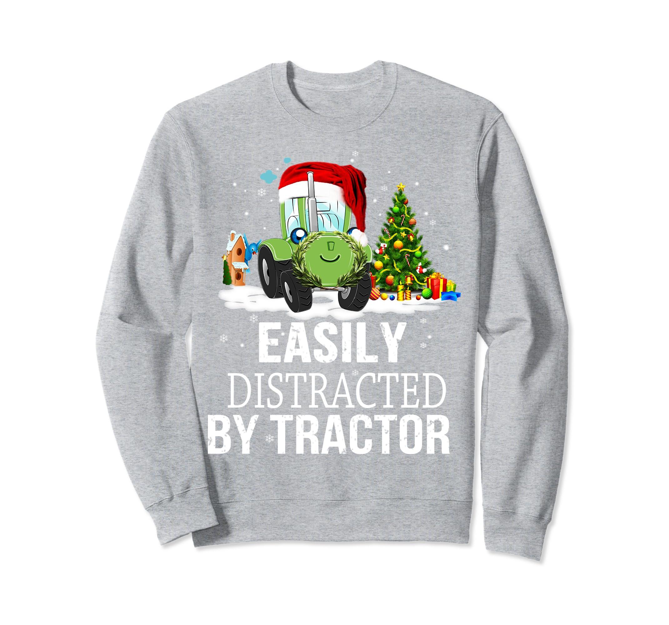 Easily Distracted By Tractors Christmas Sweatshirt and tee-azvn
