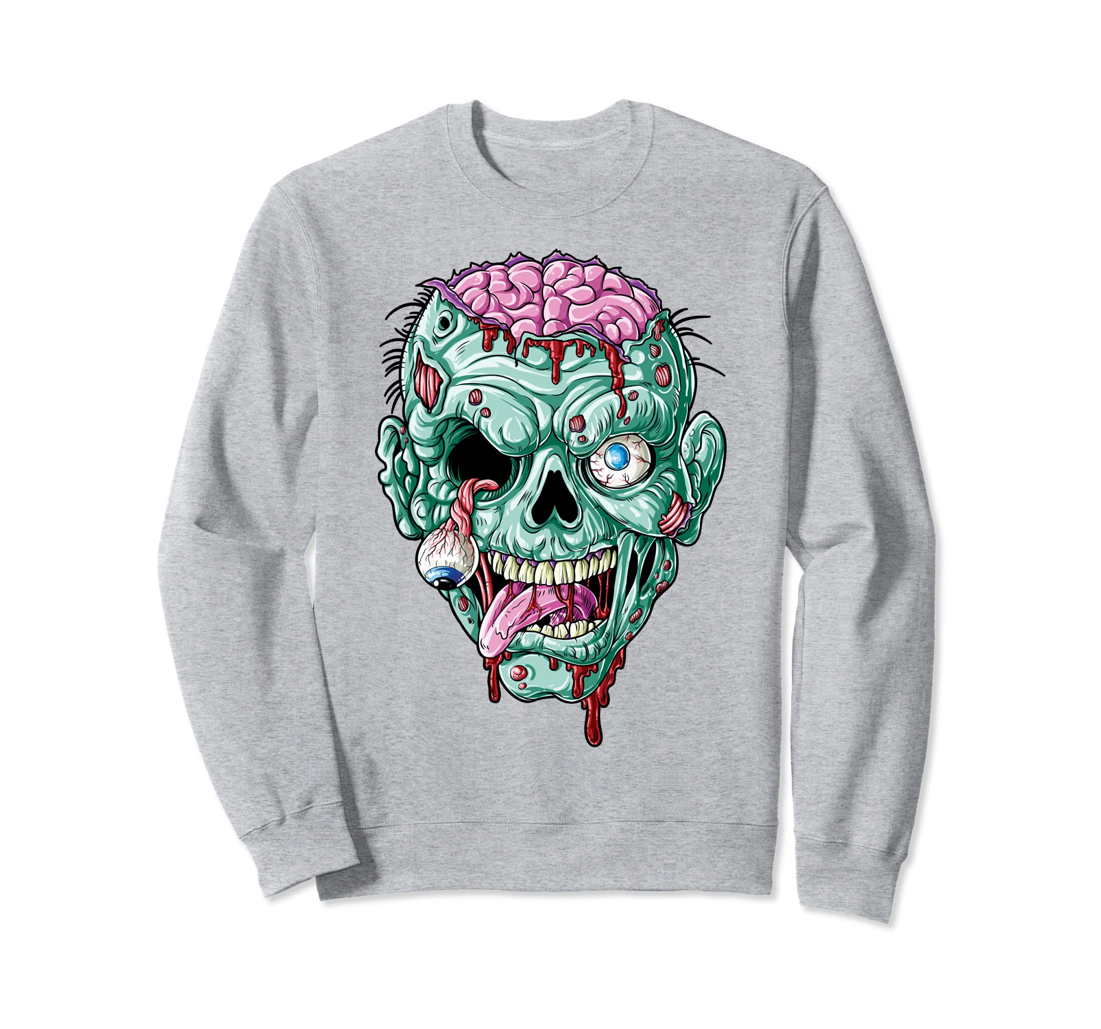 Zombie Face Sweatshirt Halloween Men Funny Zombies Brains-ANZ