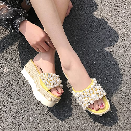 SCLOTHS Tongs Femme Chaussures Pente d'été perles artificielles piscine fond épais antidérapant