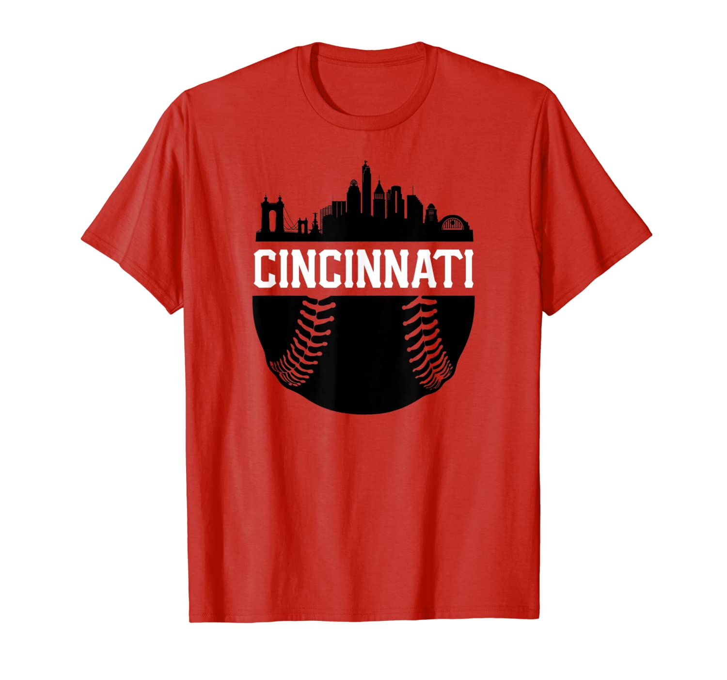 Vintage Cincinnati Baseball Skyline Ohio Retro Red Gift T-Shirt-ANZ