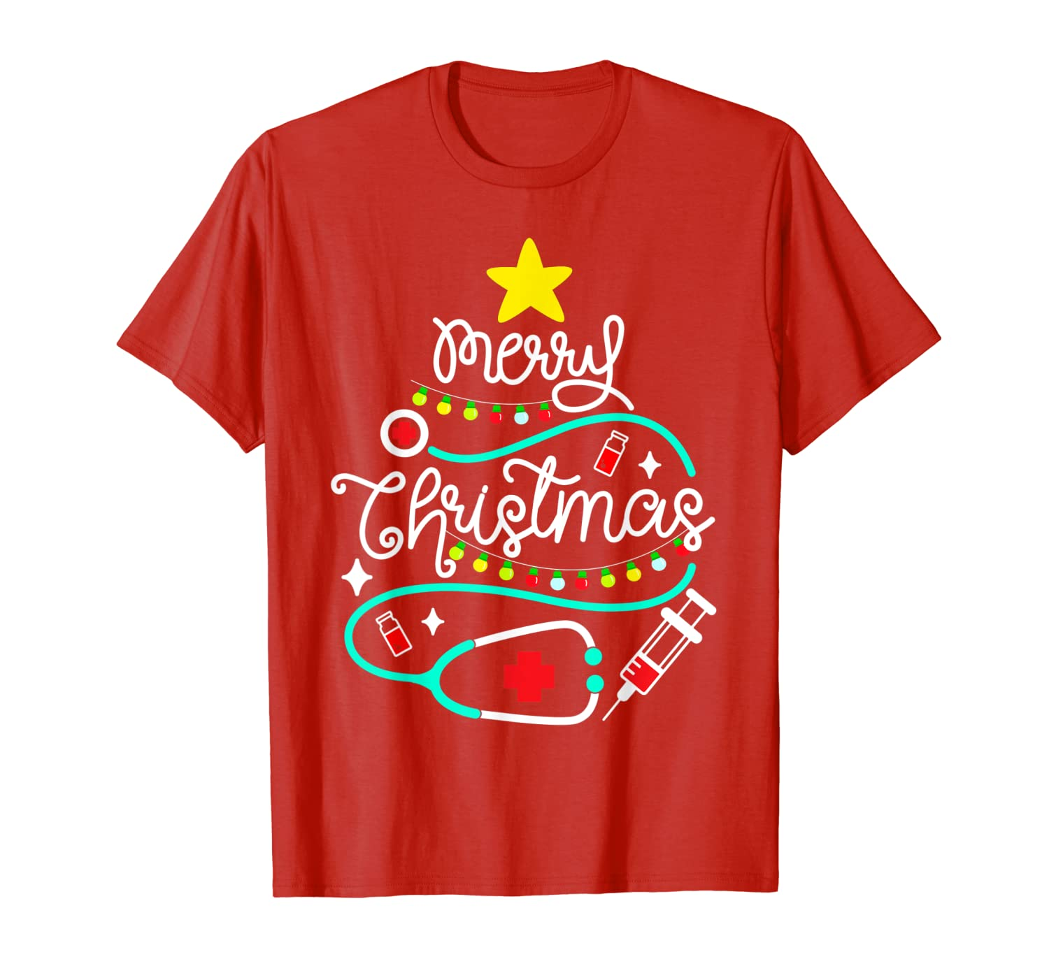 Merry Christmas Nurse Doctor Life Medical Stethoscope Gift T-Shirt-ANZ