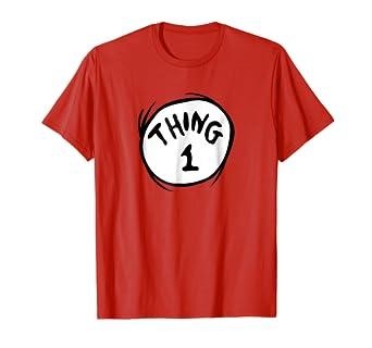 ddb7f72f1d5e Amazon.com: Dr. Seuss Thing 1 Emblem RED T-shirt: Clothing