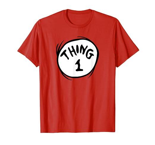 836f7dff3 Dr. Seuss Thing 1 Emblem RED T-shirt: Amazon.co.uk: Clothing