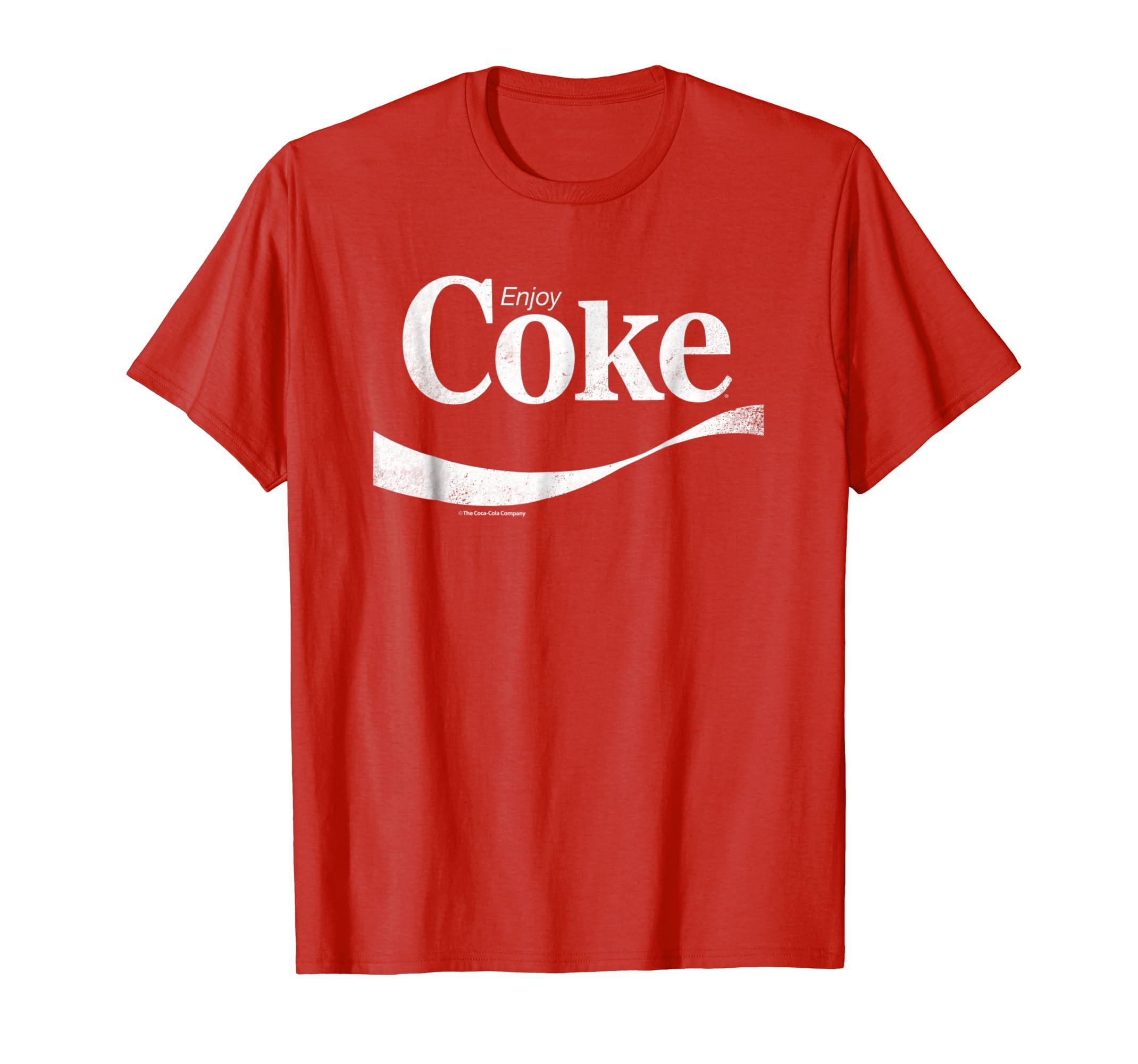 881b679949 Amazon.com: Coca-Cola Vintage Enjoy Coke White Logo Graphic T-Shirt:  Clothing